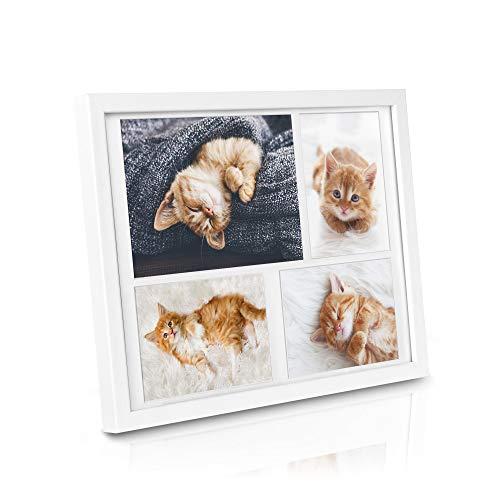 bomoe Bilderrahmen Galeria für 4 Fotos in 15x21cm & 10x15 cm Fotorahmen aus Holz, Kunststoffglas, Metall-Aufhängung & Passepartout Multirahmen für Bilder Collagen - Weiß