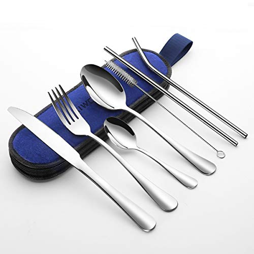 Aiwoxing Outdoor Reisebesteck mit Etui, Tragbares Besteck Set, Campingbesteck Silbernem Edelstahl Messer, Gabel, Löffel, Essstäbchen, Strohhalme, Schnalle zum Aufhängen