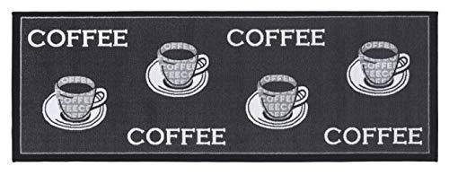 andiamo, strapazierfähiger und pflegeleichter Läufer in Kaffee-Muster Teppich Küchenläufer, 100% Polyamid, Coffee grau, 67x180 cm