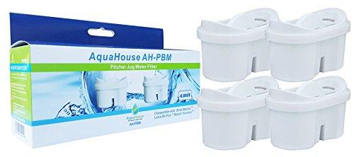 AquaHouse Wasserfilter Kartuschen kompatibel mit BRITA Maxtra Filterkanne & Bosch Tassimo Wasserfilter - Pack 4