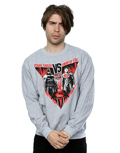 DC Comics Homme Batman v Superman Battle Sweat-Shirt Large Sport Gris