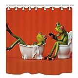 Duschvorhänge für Badezimmer mit Haken EIN Frosch Sitzen auf der Toilette The Girl Frog Duschvorhang-180x180cm