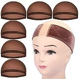 6 Stk. Haarnetz Nylon & Haarband für Perücke, FANDAMEI Wig Cap Perücke Kappen Unterziehhaube Dehnbare Elastische Stirnband Dunkelbraun