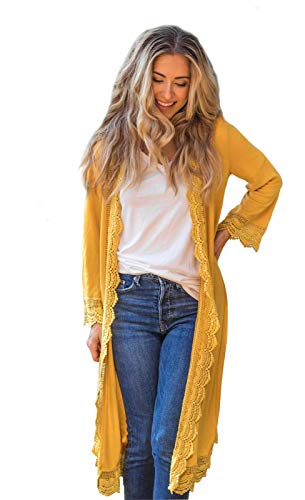 3/4 Sleeve Lace Trim Cardigan (Mustard, X-Large)