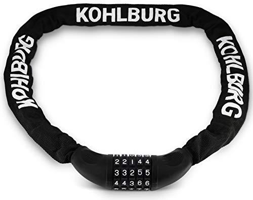KOHLBURG sehr langes Zahlenschloss 115cm lang & 6mm stark mit Zahlencode - starkes Kettenschloss mit Zahlenkombination - sicheres Fahrradschloss mit Kombination für Fahrrad & E-Bike