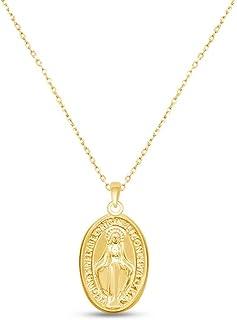Our Lady of Graces Regina sine labe originali concepta o.p.n. Coining 神聖な楕円形メダル コインペンダント 重ね付けネックレス 925スターリングシルバー|ミニマリスト 繊細...