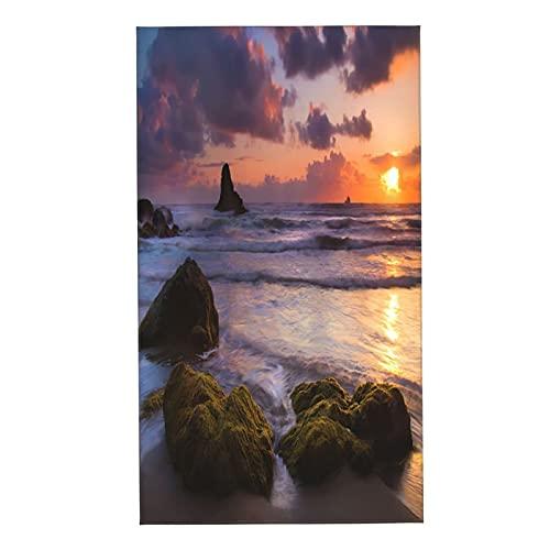 Toallas de baño, Sunset Coast Rock Waves Rising Ocean Sea Beach Sand Seafoam Paisaje escénico, Toallas de Mano Ultra Suaves y Altamente absorbentes Toallas para baño, Toalla de Ducha