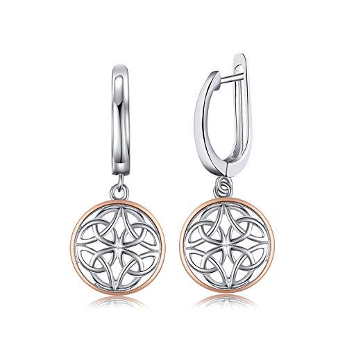 JewelryPalace Pendientes Aretes Nudos Celtas Huecos Plata de ley 925