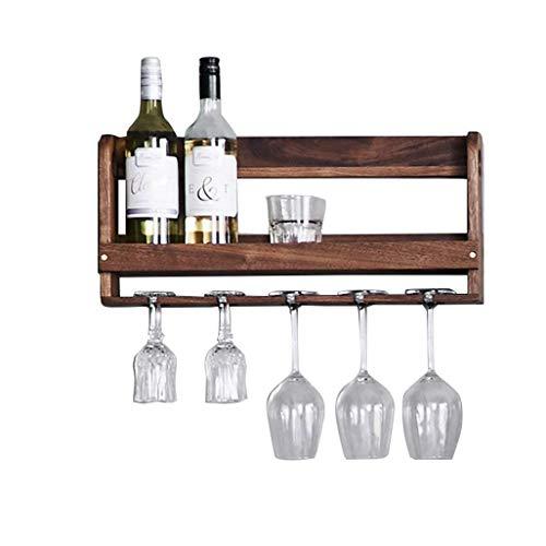 Botellero- Negro de montaje en pared de madera de nogal botella de vino |Estante de vidrio |Estantería Vino Titular Titular cáliz que cuelga 5 copa de vino estante de almacenamiento Unidad Organizador