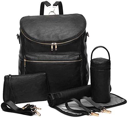 LCY Wickeltaschen-Set aus PU-Leder, große Kapazität, multifunktional, Schwarz