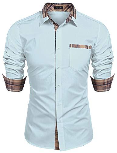 Business Hemd Langarm Herren Slim fit bügelleicht Hemden einfarbig Shirt füu männrt, M, hellblau