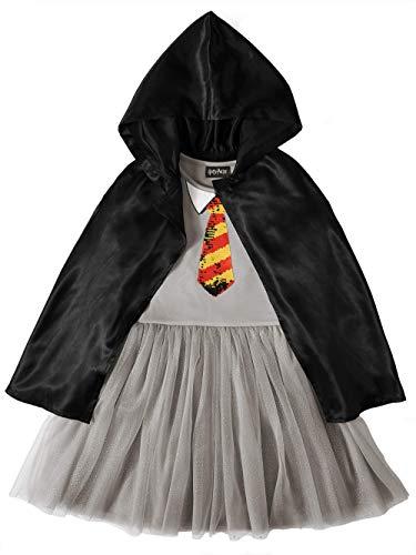 Harry Potter Big Girls Hogwarts Sequin Dress and Cloak (7 / 8) Gray