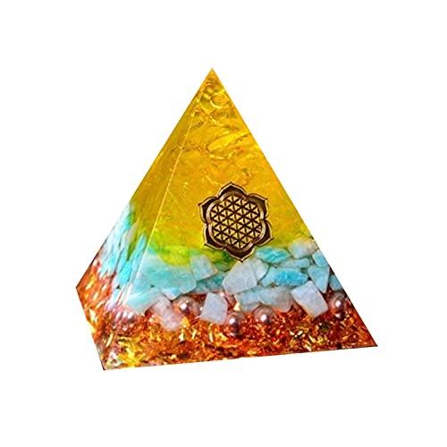 SHAONANSHI Orgonita Energy Trae Lucky Pyramid Gathering Fortune Ayuda Chakra Resina Decorativo Artesanía Joyería (Color : Amarillo, Size : 4cm)