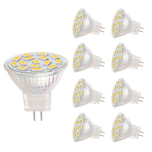 VINBE MR11 LED Lampen, GU4.0 Sockel, 3,5 W, entsprechend 25-35 W Halogen lampen, 12 V AC/DC, 350LM, 120 ° Flutlicht, Ein bauleuchten, Schienen beleuchtung, Warmweiß (3000 K, 8 Stück)