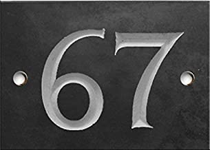 Engraved Slate House Number Sign - 1 to 99 (Select Your Number here) - Number 67 Same Day Dispatch!!!!
