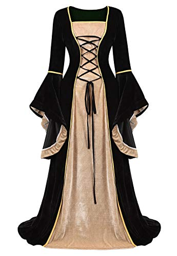 Zhitunemi Renaissance Dress Medieval Costume Women Halloween Costumes Midevil Faire Gothic Gown Black-L