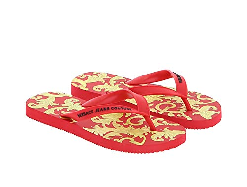 Versace Jeans Couture Red/Gold Signature Print Flip Flop-8 for womens