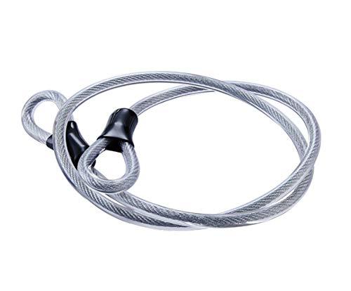 Edelstahl Sicherheitskabel, Doppelschleife geflochtene Stahlseil flexible Verriegelungskabel verriegeln 3/8 Zoll Bügelschloss, Vorhängeschloss, transparent Drahtseils mit Ring, elektrischer Tür,