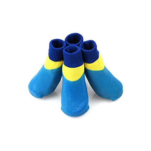 Muziwenju Zapatos para Perros, Calcetines para Perros, Calcetines Antideslizantes para Perros Grandes, Calcetines Impermeables, Azul, Verde, Marrón S- XXXXL (Color : Blue, Size : L)