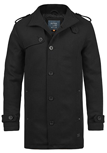Blend Warren Herren Winter Mantel Wollmantel Lange Winterjacke mit Stehkragen, Größe:M, Farbe:Black (70155)