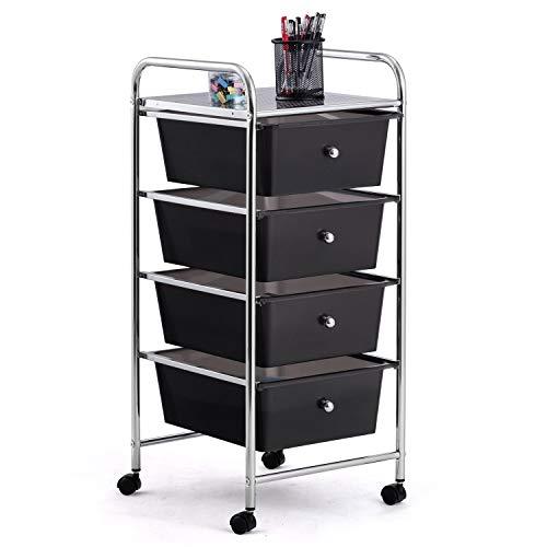 4 Drawer Rolling Storage Cart and Organizer, BestComfort Utility Cart for School, Office, Home, Beauty Salon Multi-Use Storage Organizer Cart