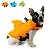 Snik-S Dog Life Jacket- Preserver with Adjustable Belt, Pet Swimming Shark Jacket for Short Nose Dog (Pug,Bulldog,Poodle,Bull Terrier) (L, Orange)