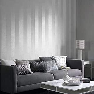75 sq.ft Rolls Portofino Italian Wallcoverings Luxury Unique Striped Covering Non-Woven Wallpaper White mat Stria Lines & Metallic Modern 3D Stripes Free Match Wall coverings 3D (75 sq.ft Euro Roll)
