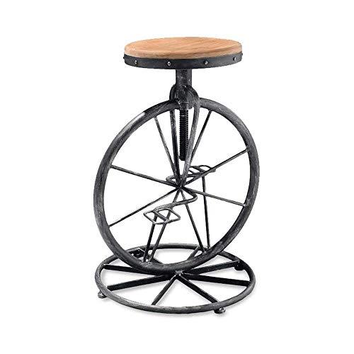 ZWWZ Silla giratoria ergonómica Viento Industrial Hierro Forjado Silla de Barra de Bicicleta Creativa, Bar Taburete Silla Ascensor de Madera Maciza Cara Retro High Bar Taburete MISU ✅