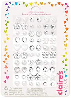 Claire's Club Bridal Stick on Earrings, Cute Jewelry for Girls, Assorted Styles, Silver and White, 30 Pack