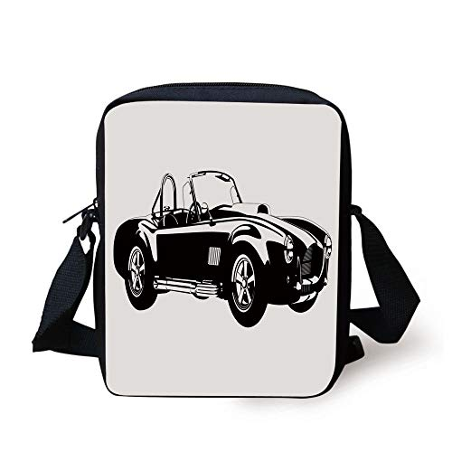 FAFANIQ Cars,Silhouette Classic Sport Car Ac Cobra Roadster American Antique Engine Autosport,Black White Print Kids Crossbody Messenger Bag Purse