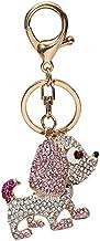 Metalen Sleutelhanger, Kleurrijke Met Diamanten Bezette Schattige Auto-accessoires Hanger In De Vorm Van Een Hond Roze