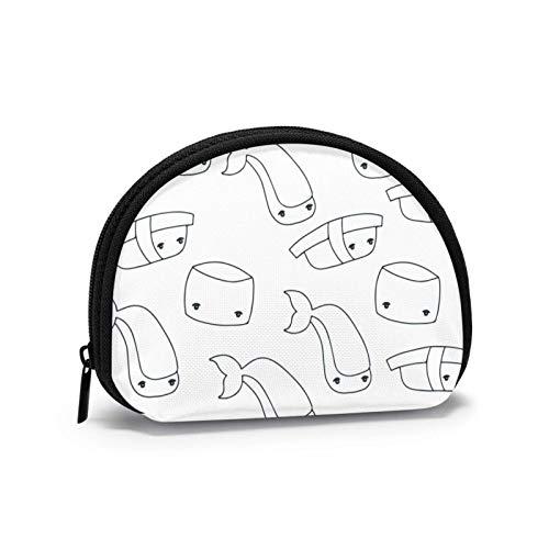 Oxford Cloth Japanische Schwarz-Weiß-Sushi-Geldbörse Kleine Reißverschlusstasche Brieftasche Wechselbeutel Mini Cosmetic Makeup Bags Organizer Mehrzweckbeutel