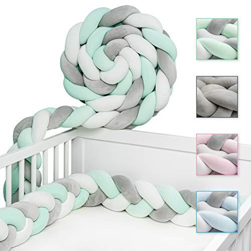 JAKOR® Bettschlange geflochten 3M - geprüfte Laborqualität - Bettumrandung geflochten inkl. Wäschenetz - Babybettumrandung - Bettumrandung Babybett – Bettschlange 300 cm (Grün/Weiß/Grau)