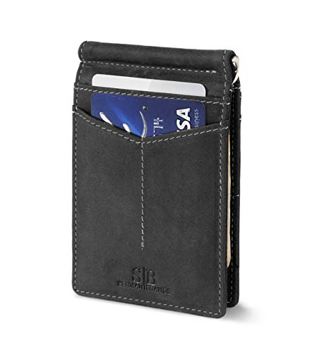 Travel Wallet RFID Blocking Bifold Slim Genuine Leather Thin Minimalist Front Pocket Wallets for Men Money Clip - Made From Full Grain Leather (Charcoal Black Rogue)