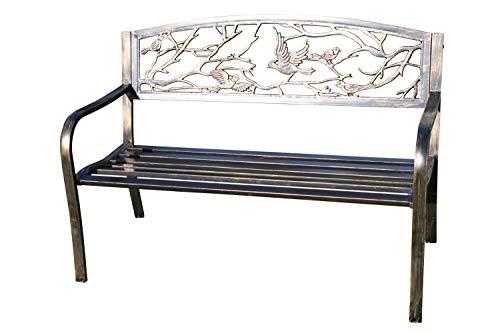 Metal Garden Bench with Cast Iron 'Birds Design' Back Rest