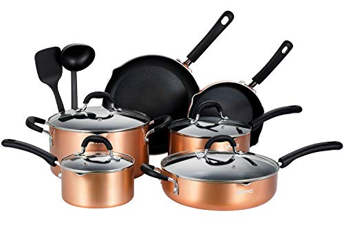 EPPMO Batería de Cocina de Aluminio Antiadherente, Juego de Sartenes, Ollas, Cacerolas y Cazuelas con Tapa, Todo Tipo de Cocinas Incluido Inducción sin PFOA,12 Piezas de Color Cobre