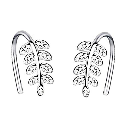 Yaneno Fashion Jewellery Classic Cute 925 Sterling Silver Leaf Clip Earrings Ear Hook Dangle Drop Simple Elegant Earrings for Women (White)