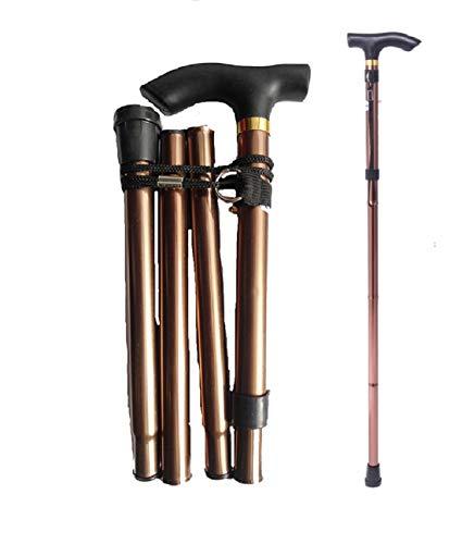 Ducomi® - Bastón plegable de paseo ajustable de 82a 92cm de aluminio–Ligero, portátil y duradero–Incluye correa de transporte, Bronce
