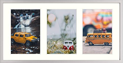 Golden State Art 7x14 Silver Collage Picture Frames for Three 4x6 Photos Aluminum Frame with 3 Opening Ivory Mat Color Portrait or Landscape Wall Mounting Sturdy and Easy to Install Real Glass Front