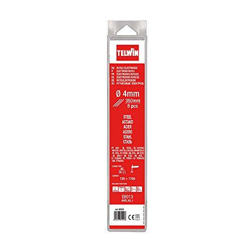 Telwin 802620 Elettrodi Rutili per Saldatura D. 4 mm, 0.1 V, Grigio, 4 blister, Set di 8 Pezzi