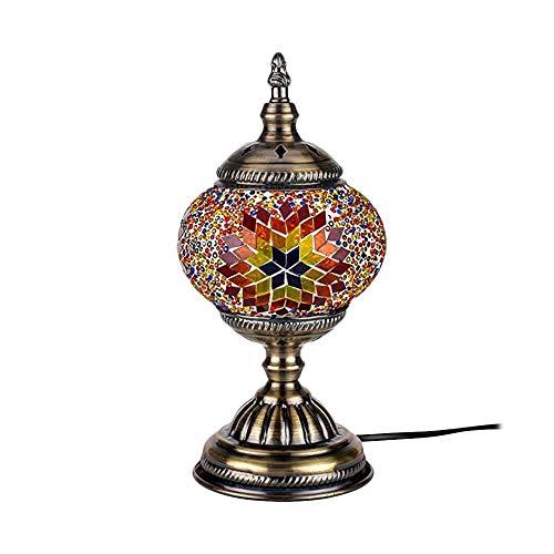 ZZM Lámpara de Mesa de Mosaico Turco, marroquí Artesanal, Escritorio de Vidrio Multicolor, cabecera Decorativa, luz de Noche con Base de Bronce