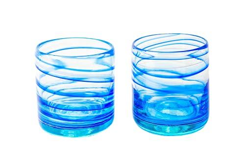 ANTONI BARCELONA Vasos Cristal Agua Modernos Grandes Originales para Regalar Azul Set 2 440ml Reciclado Soplado por Artesanos