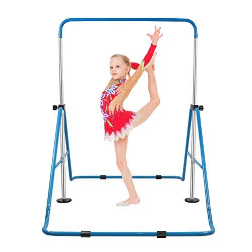 Pink VEVOR Gymnastics Bars for Kids Gymnastics Bar with Flying Rings Gloves Adjustable Folding Horizontal Bar Pull Up Expandable Kids Pull Up Bar