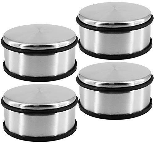 Tope para puerta de acero inoxidable macizo, 11,2 x 5,5 cm, 1,1 kg, para puertas pesadas, antideslizante, tope de puerta sin taladrar con anillo de goma (1 pieza)