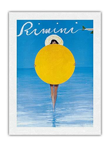 Rimini, Italia – Chica italiana con sombrilla – Póster de viaje de René Gruau c.1990 – Papel de arroz con impresión artística 43 x 56 cm