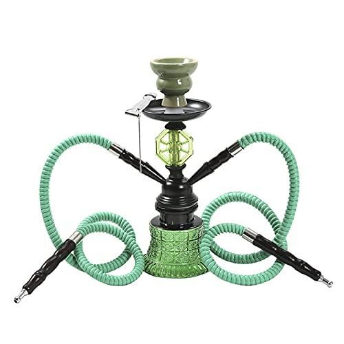 Set de shisha de agua con pipa de agua, gancho portátil, juego de 2 mangueras, juego completo Araber huka de doble tubo para uso en casa y en fiestas, color verde