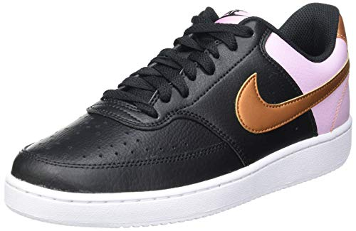 Nike Damen Court Vision Low Basketballschuh, Black Metallic Copper White, 41 EU