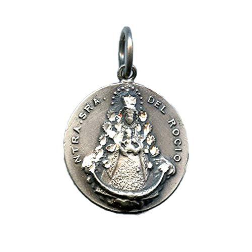 Medalla Virgen del Rocio Redonda 22 mm Plata DE Ley