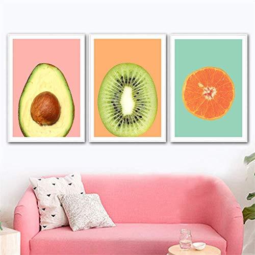 jjshily 3 Panel Leinwand Kiwi Avocado Orange Obst Wandkunst Leinwand Malerei Poster und Nordic Poster Wandbilder für Wohnzimmer Kunst Wandfarbe