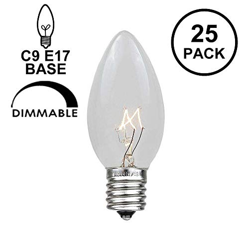 Novelty Lights 25 Pack C9 Outdoor Christmas Replacement Bulbs, Clear, E17/C9 Intermediate Base, 7 Watt… 2